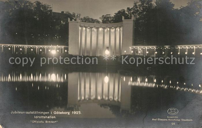 AK / Ansichtskarte Goeteborg Jubileumsutstaellningen Idrottshallen unter Beleuchtung Nachtaufnahme Goeteborg