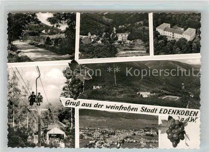 AK / Ansichtskarte Edenkoben Waldweg Fliegeraufnahme Luisenhoehe Sesselbahn Fliegeraufnahme Edenkoben