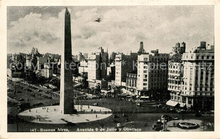 AK / Ansichtskarte Buenos_Aires Avenida 9 de Julio Obelisco Buenos Aires