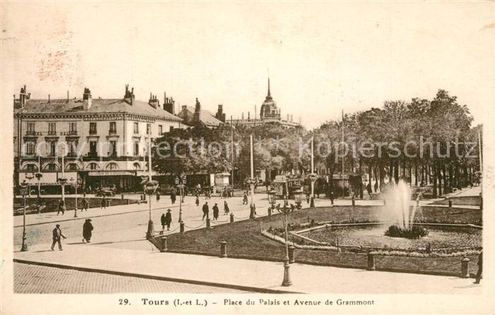 AK / Ansichtskarte Tours_Indre et Loire Place du Palais Brunnen Tours Indre et Loire