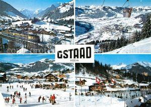 AK / Ansichtskarte Gstaad Winterpanorama Alpen Wintersport Eislaufbahn Gstaad