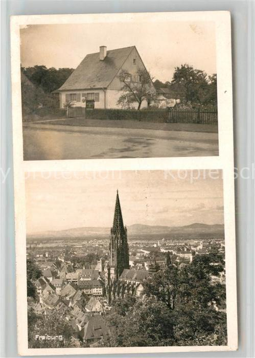 6824171aa45082 AK   Ansichtskarte Freiburg Breisgau Wohnhaus Stadtansicht mit Muenster Freiburg  Breisgau 0