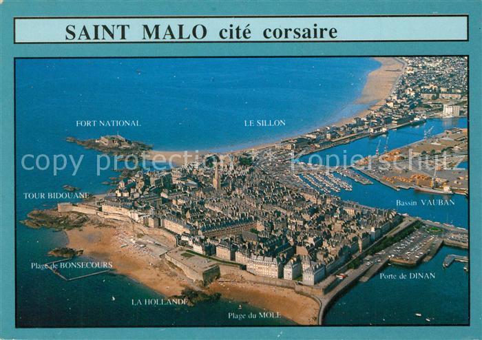 AK / Ansichtskarte Saint Malo_Ille et Vilaine_Bretagne Vue de la ville intra muros et de la baie Stadtmauer Bucht Fliegeraufnahme Saint Malo_Ille et Vilaine