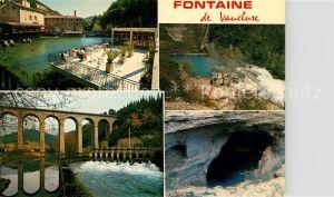 AK / Ansichtskarte Fontaine de Vaucluse Restaurant Terrasse an der Sorgue Viadukt Wehr Wasserfall Hoehle Quellteich  Fontaine de Vaucluse