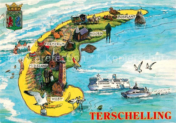 Terschelling Insel Landkarte Faehre Kuenstlerkarte Terschelling