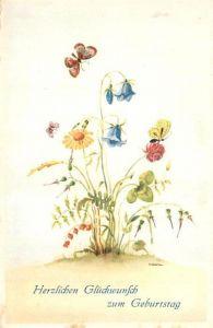 AK / Ansichtskarte Geburtstag Blumen Schmetterlinge  Geburtstag