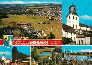 AK / Ansichtskarte Meinerzhagen Panorama Kirchen Freibad Jagdschloss Badinghagen  Meinerzhagen