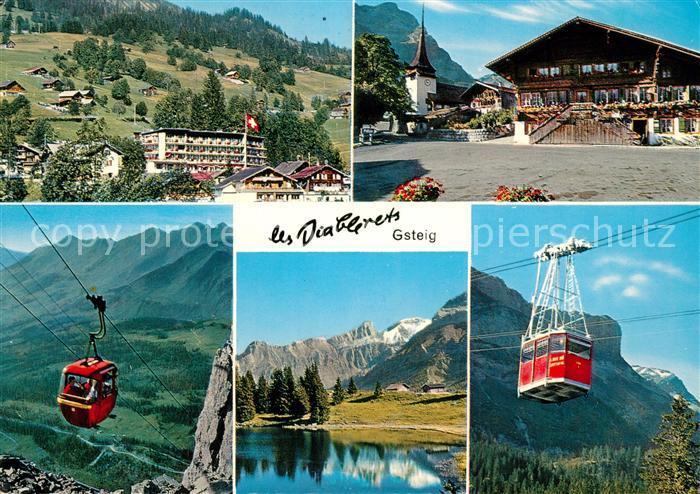 AK / Ansichtskarte Gsteig Les Diablerets Grand Hotel Kirche Baeren Seilbahn Gsteig