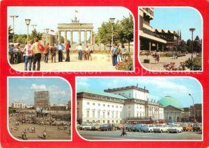 AK / Ansichtskarte Berlin Brandenburger Tor Palasthotel Alexanderplatz Deutsche Staatsoper Hauptstadt der DDR Berlin
