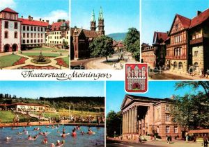 AK / Ansichtskarte Meiningen_Thueringen Schloss Stadtkirche Henneberger Haus Schwimmbad Theater Meiningen Thueringen