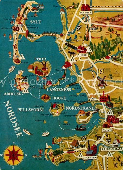 Ak Ansichtskarte Nordfriesland Landkarte Der Region