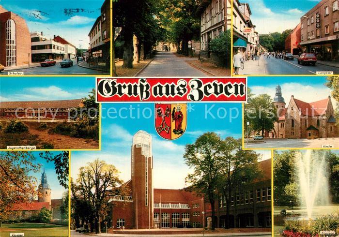 AK / Ansichtskarte Zeven Schulstr Langestr Jugendherberge Kloster Kirche Fontaene Zeven