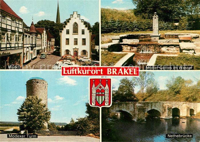 AK / Ansichtskarte Brakel_Westfalen Markt Mutter Gottes im Wasser Modexer Turm Nethebruecke Brakel_Westfalen