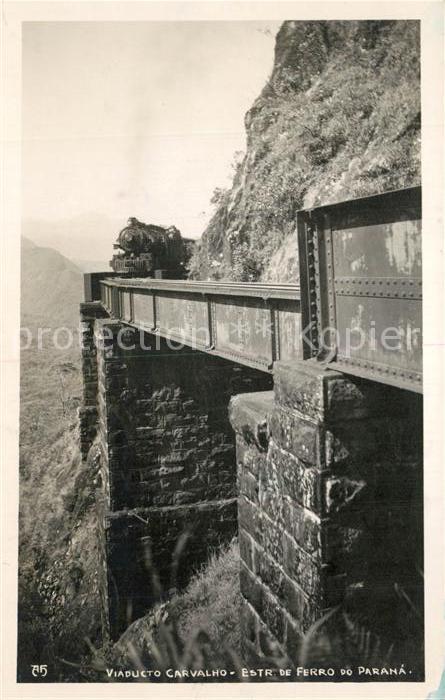 AK / Ansichtskarte Lokomotive Viaducto Carvalho Parana Suedamerika Lokomotive