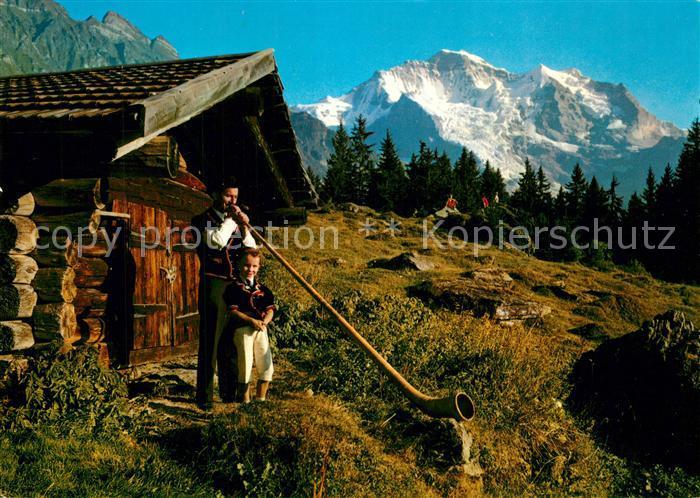 AK / Ansichtskarte Alphorn Alphornblaeser Wengen Sennenbub Jungfrau Alphorn