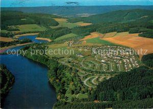 AK / Ansichtskarte Meschede Fliegeraufnahme Sauerland Camp Hennesee Meschede