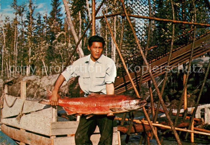 AK / Ansichtskarte Fische King Salmon Fish Wheel Fishing Indian  Fische