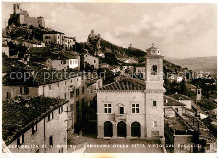 AK / Ansichtskarte San_Marino_Repubblica Panorama della Citta visto dal Palazzo San_Marino_Repubblica