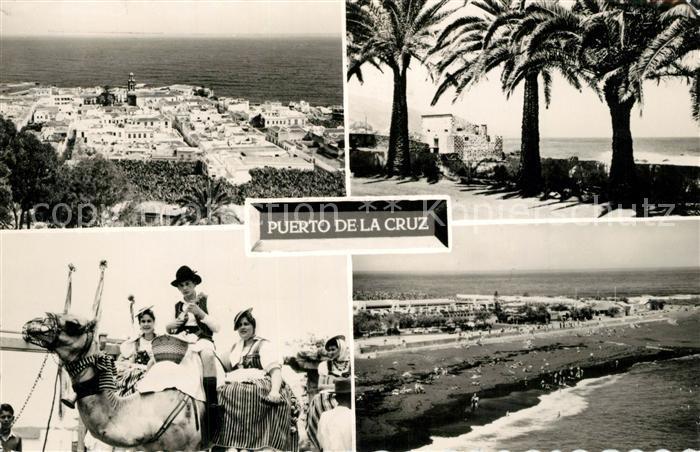 AK / Ansichtskarte Puerto_de_la_Cruz Panorama Castillo de San Felipe Romeros en San Isidro Playa de Martianez Puerto_de_la_Cruz