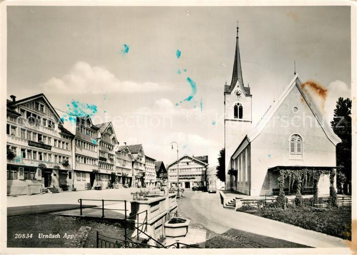 AK / Ansichtskarte Urnaesch_AR Ortspartie Kirche Urnaesch_AR