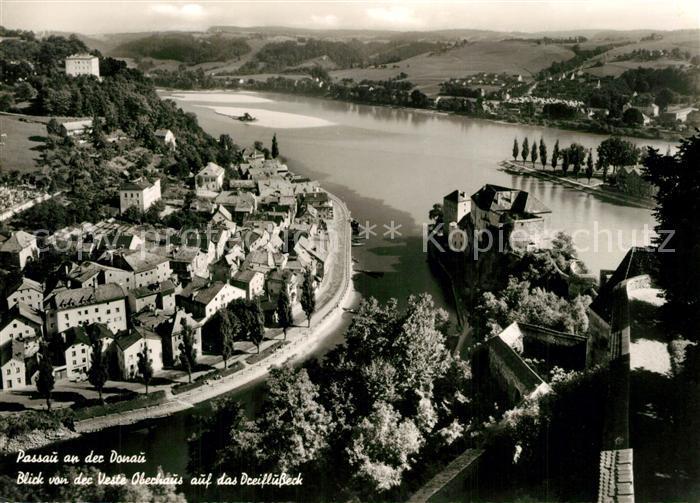 AK / Ansichtskarte Passau Panorama Blick von der Veste Oberhaus auf das Dreiflusseck Passau