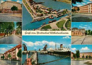AK / Ansichtskarte Wilhelmshaven Stadttheater Marktstrasse Werftstrasse Hafeneinfahrt Suedstrand oelhafen Arbeitsamt Theaterplatz Wilhelmshaven