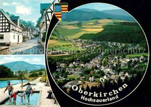 AK / Ansichtskarte Oberkirchen_Sauerland Fachwerkhaeuser Freibad Wassertreten Blick ins Tal Fernsicht Wappen Oberkirchen_Sauerland