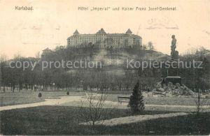 AK / Ansichtskarte Karlsbad_Eger Hotel Imperial Kaiser Franz Josef Denkmal Karlsbad_Eger