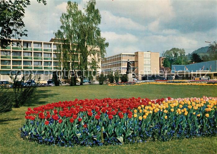 AK / Ansichtskarte Reutlingen_Tuebingen Friedrich List Platz mit Parkhotel Tulpenbeet Reutlingen Tuebingen