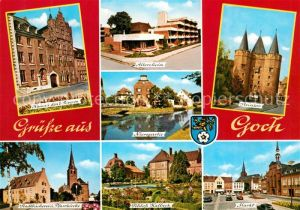 AK / Ansichtskarte Goch Haus zu den 5 Ringen Steintor Altersheim Schloss Kalbeck Markt Goch