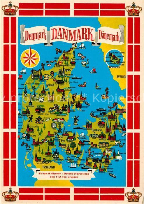 Ak Ansichtskarte Daenemark Landkarte Mit Sehenswuerdigkeiten
