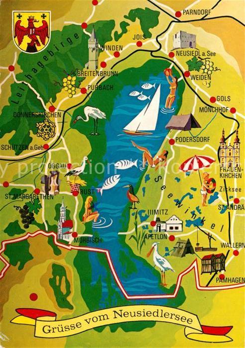 AK / Ansichtskarte Neusiedl_See Neusiedlersee und Umgebung Landkarte Neusiedl See