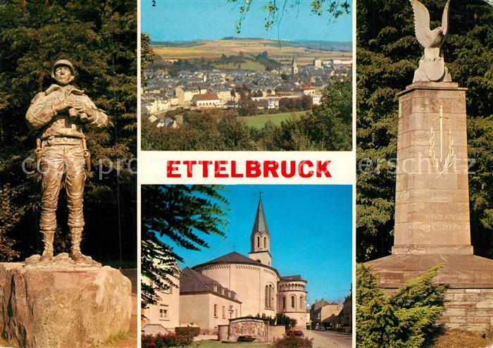 AK / Ansichtskarte Ettelbruck Statue U.S. General Patton Panorama Eglise Saint Sebastian Monument Patton Ettelbruck