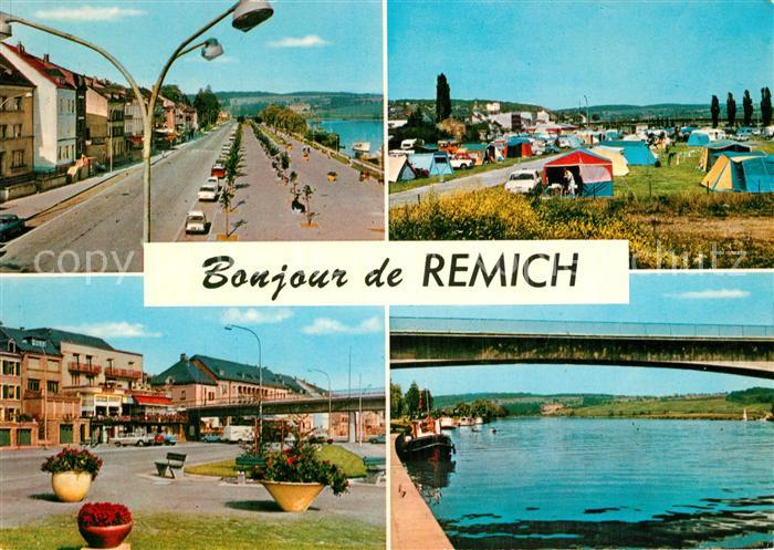 AK / Ansichtskarte Remich Uferstrasse Campingplatz Mosel Bruecke Grand Duche de Luxembourg Remich