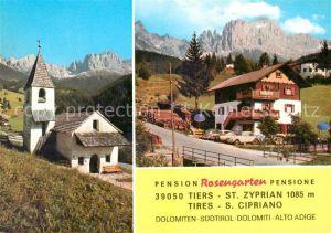 AK / Ansichtskarte Tiers_Dolomiten Pension Rosengarten Kirche Tiers Dolomiten