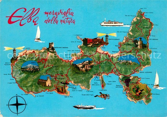 Insel Elba Karte.Ak Ansichtskarte Elba Landkarte Insel Elba Elba