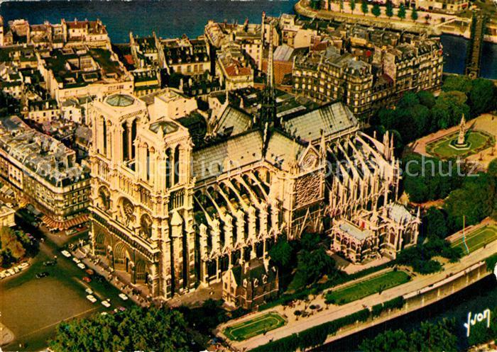 AK / Ansichtskarte Paris Notre Dame et le Jardin de l Archeveche vu du ciel par Alain Perceval Paris