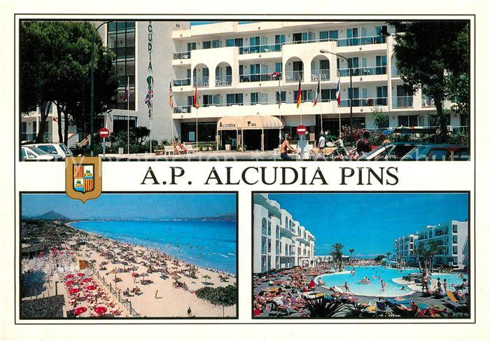 AK / Ansichtskarte Alcudia_Mallorca Apartamentos Alcudia Pins Strand Swimming Pool Alcudia Mallorca