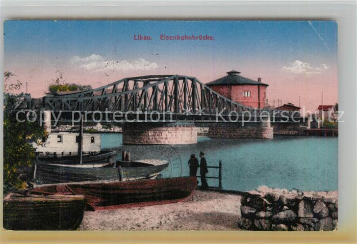 AK / Ansichtskarte Libau Eisenbahnbruecke Libau