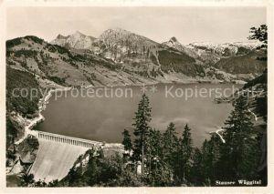 AK / Ansichtskarte Waegitalersee Stausee Sperrmauer Gasthaus Stausee Innertal Alpenpanorama Waegitalersee