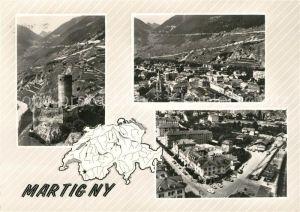 AK / Ansichtskarte Martigny_VS en avion au dessus de la ville Martigny VS