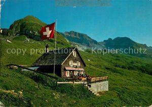 AK / Ansichtskarte Unteriberg Kaesernalp Drusberghuette mit Drusberg und Forstberg Schweizer Flagge Unteriberg