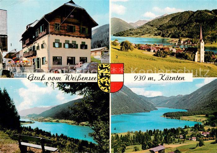 AK / Ansichtskarte Weissensee_Kaernten Gasthof Herzog Gatschach Techendorf Panorama Blick von der Rauna Alpen Weissensee Kaernten