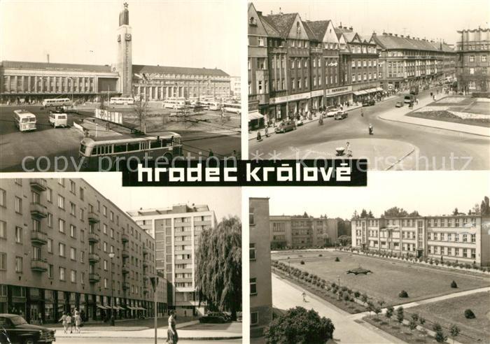 AK / Ansichtskarte Hradec_Kralove Bahnhof Strassenpartien Park Hradec Kralove