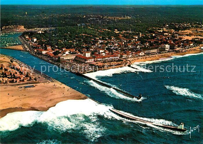 AK / Ansichtskarte Capbreton Vue aerienne avec le canal et en prolongement le port