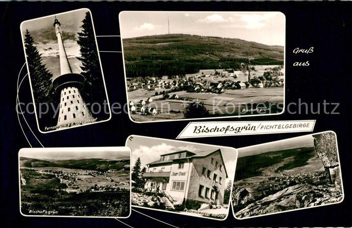 AK / Ansichtskarte Bischofsgruen Panorama Fernsehturm Ochsenkopf Pension Hoyer Baude Bischofsgruen