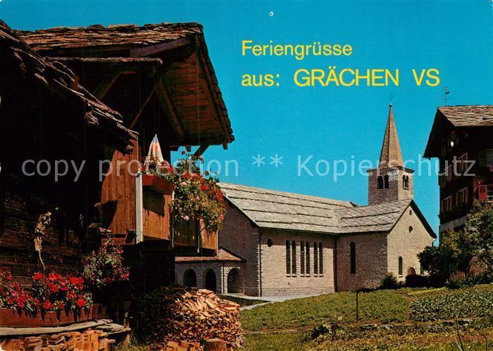 AK / Ansichtskarte Graechen_VS Kirche Graechen_VS