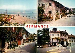 AK / Ansichtskarte Hermance La Plage La Place Rue Centrale Rue du Midi Hermance