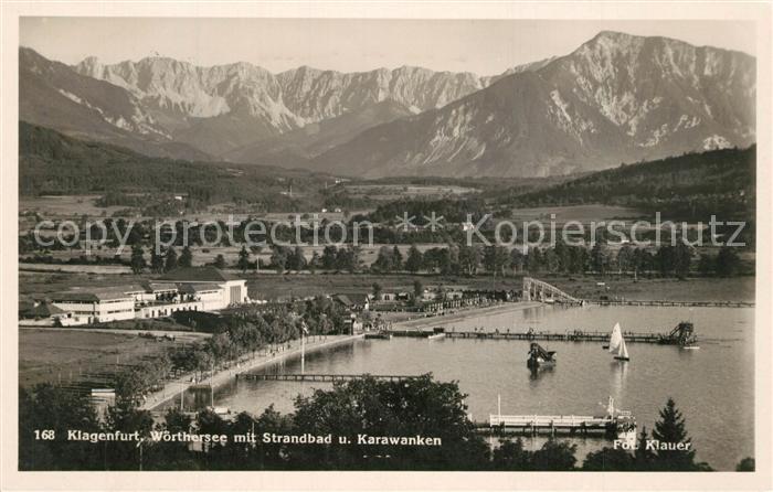 AK / Ansichtskarte Klagenfurt_Woerthersee Panorama mit Strandbad und Karawanken Klagenfurt_Woerthersee