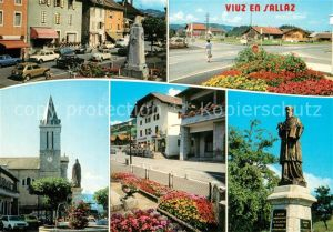 AK / Ansichtskarte Viuz en Sallaz Motiv Innenstadt Denkmal Statue Kirche Kreuzung Viuz en Sallaz